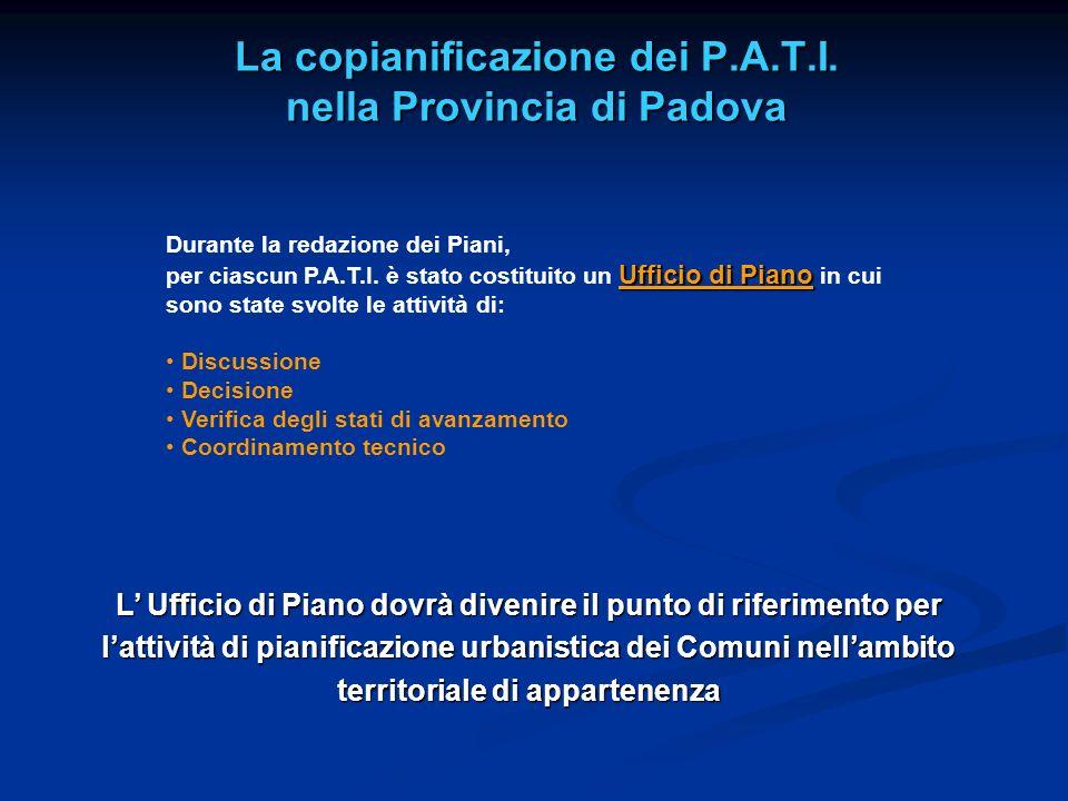 La copianificazione dei P.A.T.I. nella Provincia di Padova Durante la redazione dei Piani, Ufficio di Piano per ciascun P.A.T.I. è stato costituito un