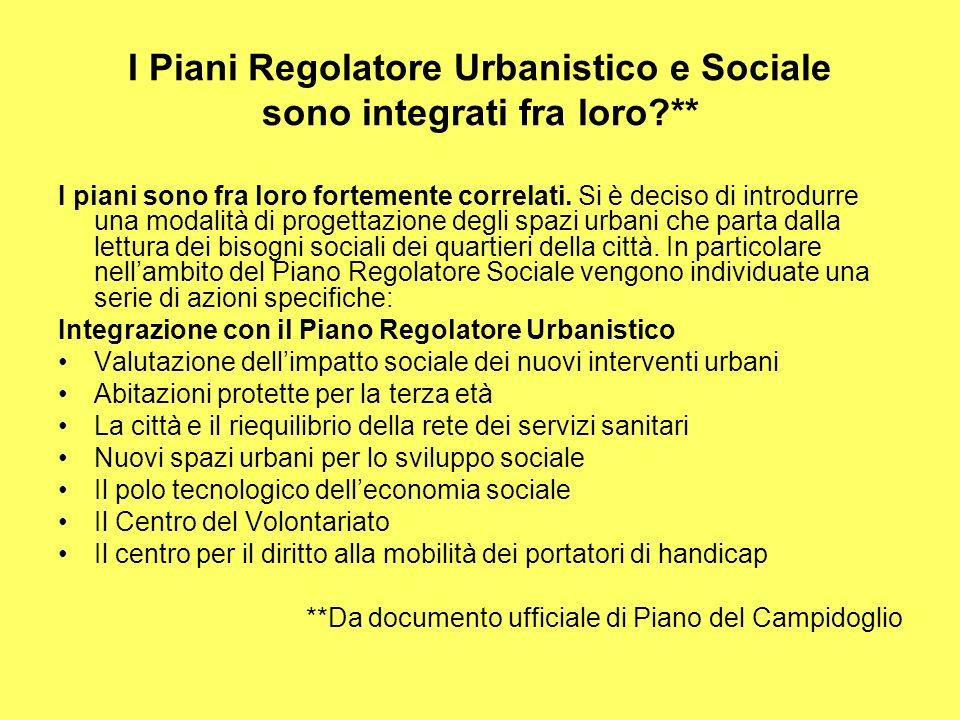 I Piani Regolatore Urbanistico e Sociale sono integrati fra loro ** I piani sono fra loro fortemente correlati.