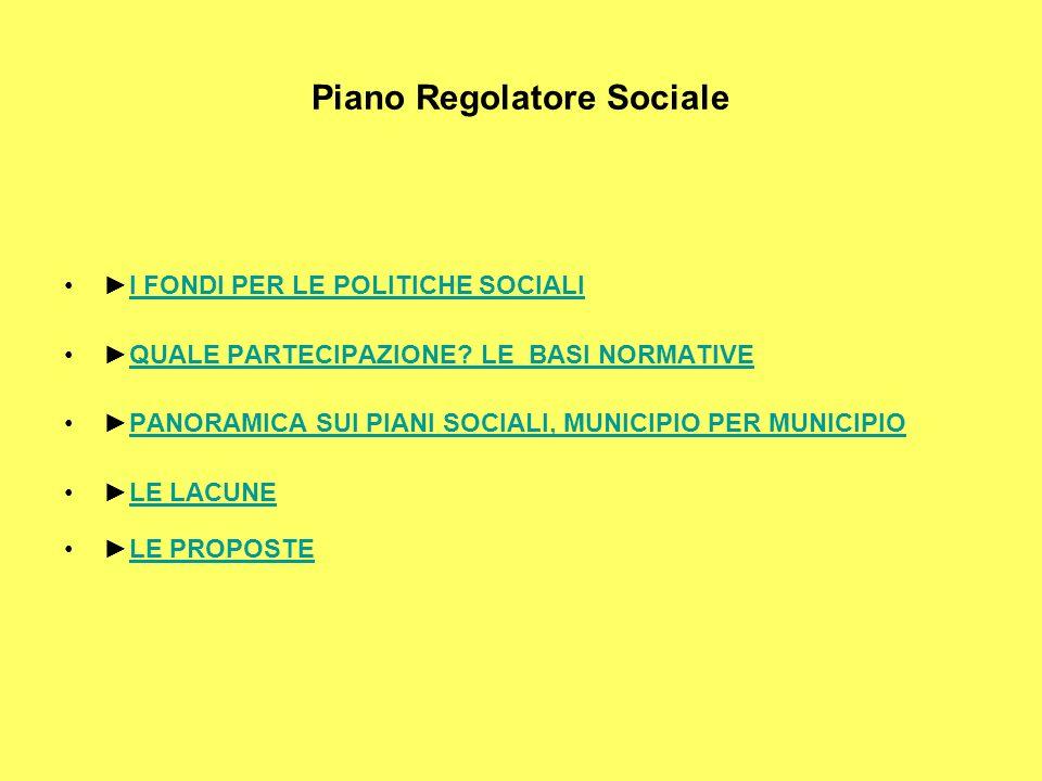 Piano Regolatore Sociale I FONDI PER LE POLITICHE SOCIALI QUALE PARTECIPAZIONE.