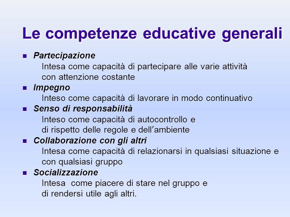 Le competenze educative generali Partecipazione Intesa come capacità di partecipare alle varie attività con attenzione costante Impegno Inteso come ca