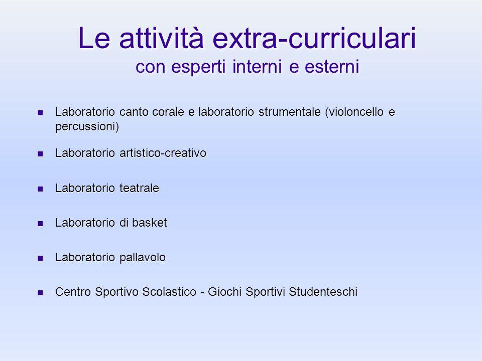 Le attività extra-curriculari con esperti interni e esterni Laboratorio canto corale e laboratorio strumentale (violoncello e percussioni) Laboratorio