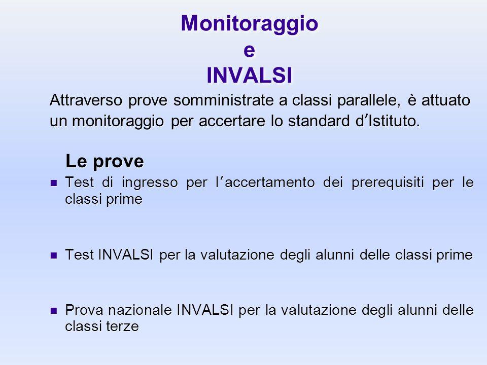 Monitoraggio e INVALSI Attraverso prove somministrate a classi parallele, è attuato un monitoraggio per accertare lo standard dIstituto. Le prove Test