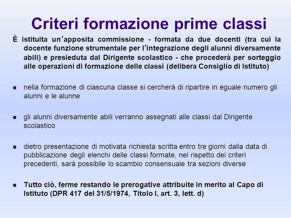 Criteri formazione prime classi È istituita unapposita commissione - formata da due docenti (tra cui la docente funzione strumentale per lintegrazione