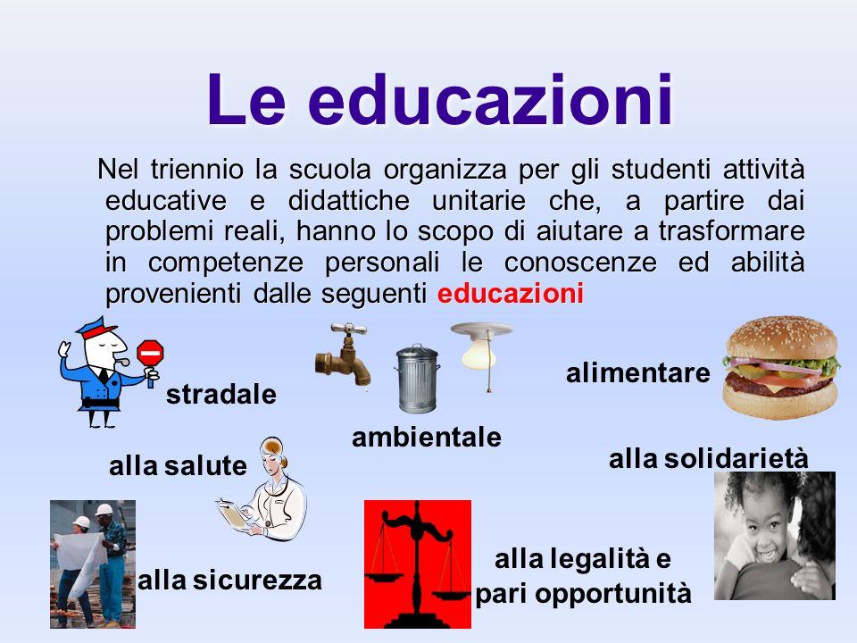 Le educazioni Nel triennio la scuola organizza per gli studenti attività educative e didattiche unitarie che, a partire dai problemi reali, hanno lo s