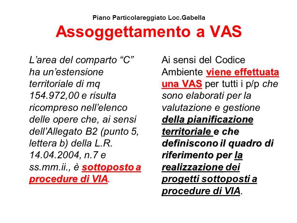 Piano Particolareggiato Loc.Gabella Assoggettamento a VAS sottoposto a procedure di VIA Larea del comparto C ha unestensione territoriale di mq 154.97