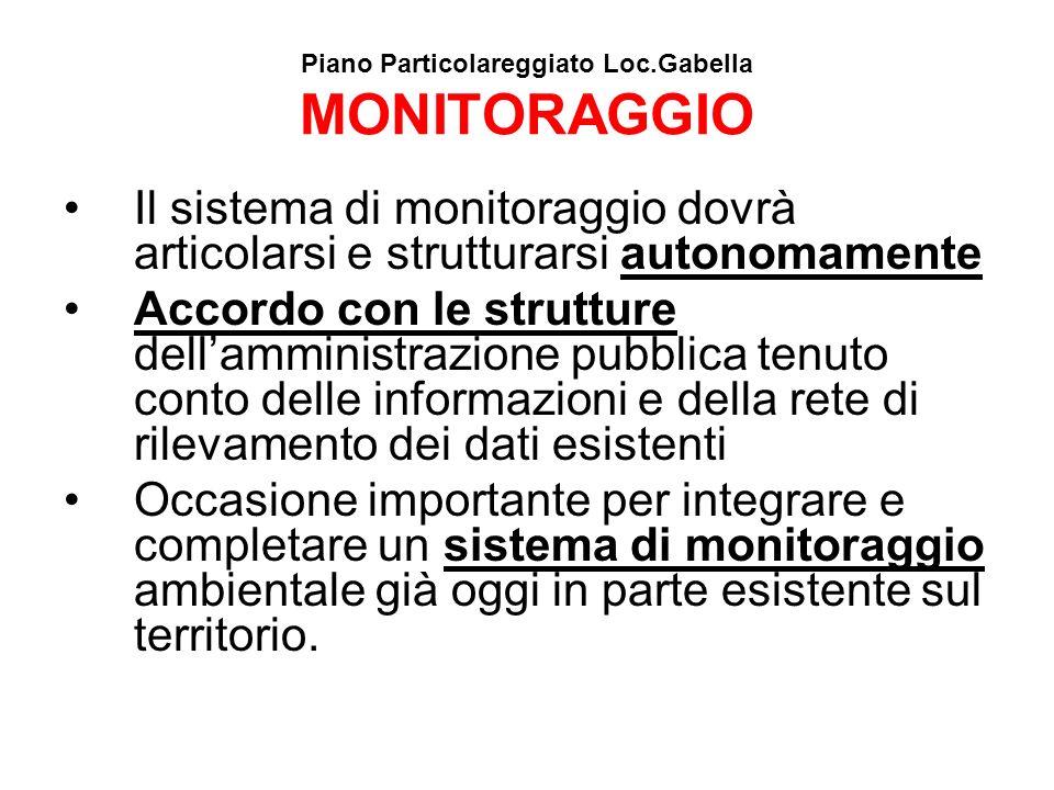 Piano Particolareggiato Loc.Gabella MONITORAGGIO Il sistema di monitoraggio dovrà articolarsi e strutturarsi autonomamente Accordo con le strutture de