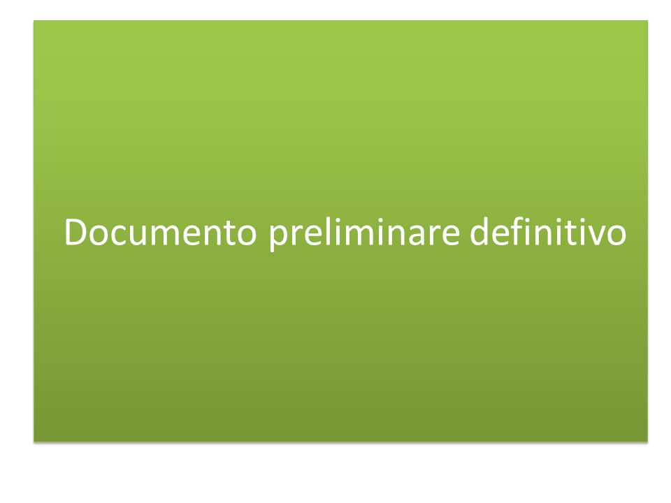 Documento preliminare definitivo