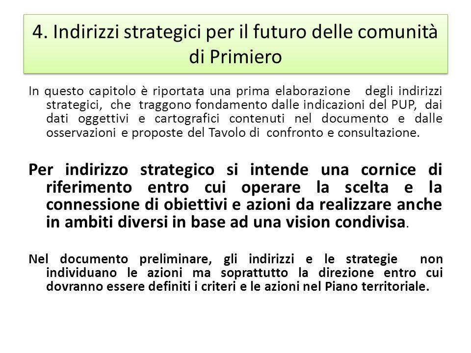 4. Indirizzi strategici per il futuro delle comunità di Primiero In questo capitolo è riportata una prima elaborazione degli indirizzi strategici, che