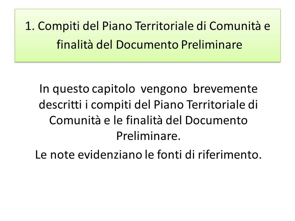 1. Compiti del Piano Territoriale di Comunità e finalità del Documento Preliminare In questo capitolo vengono brevemente descritti i compiti del Piano