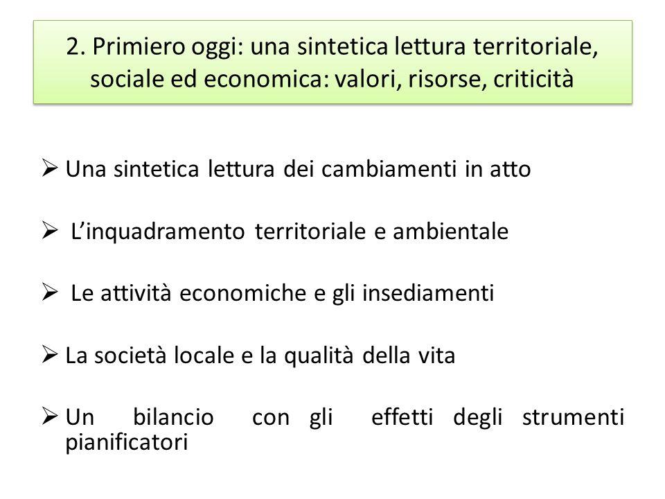 2. Primiero oggi: una sintetica lettura territoriale, sociale ed economica: valori, risorse, criticità Una sintetica lettura dei cambiamenti in atto L