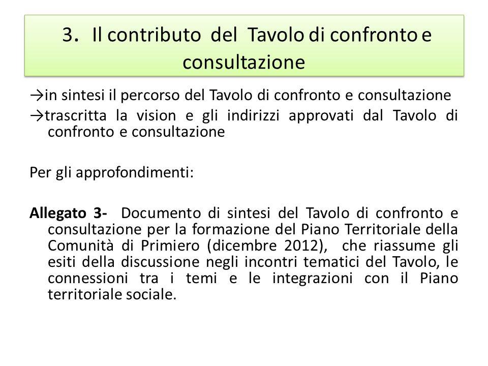 3. Il contributo del Tavolo di confronto e consultazione in sintesi il percorso del Tavolo di confronto e consultazione trascritta la vision e gli ind