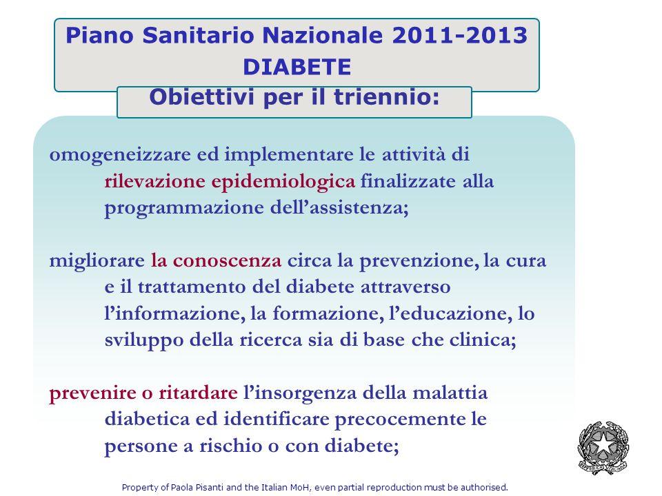 DIABETE omogeneizzare ed implementare le attività di rilevazione epidemiologica finalizzate alla programmazione dellassistenza; migliorare la conoscen
