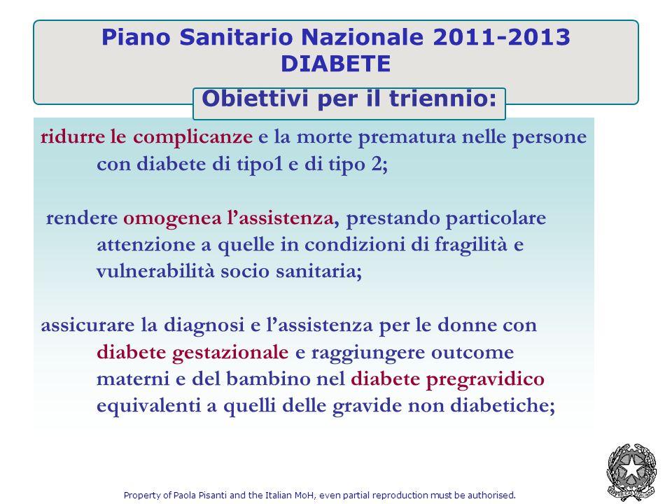 Piano Sanitario Nazionale 2011-2013 DIABETE ridurre le complicanze e la morte prematura nelle persone con diabete di tipo1 e di tipo 2; rendere omogen