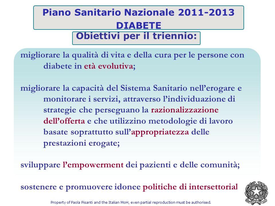 Piano Sanitario Nazionale 2011-2013 DIABETE migliorare la qualità di vita e della cura per le persone con diabete in età evolutiva; migliorare la capa