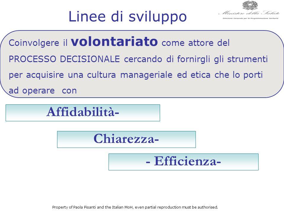 Affidabilità- - Efficienza- Chiarezza- Coinvolgere il volontariato come attore del PROCESSO DECISIONALE cercando di fornirgli gli strumenti per acquis