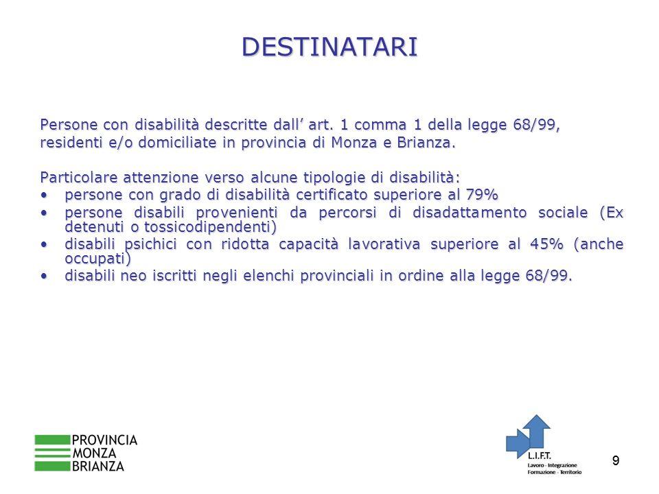99 DESTINATARI Persone con disabilità descritte dall art.