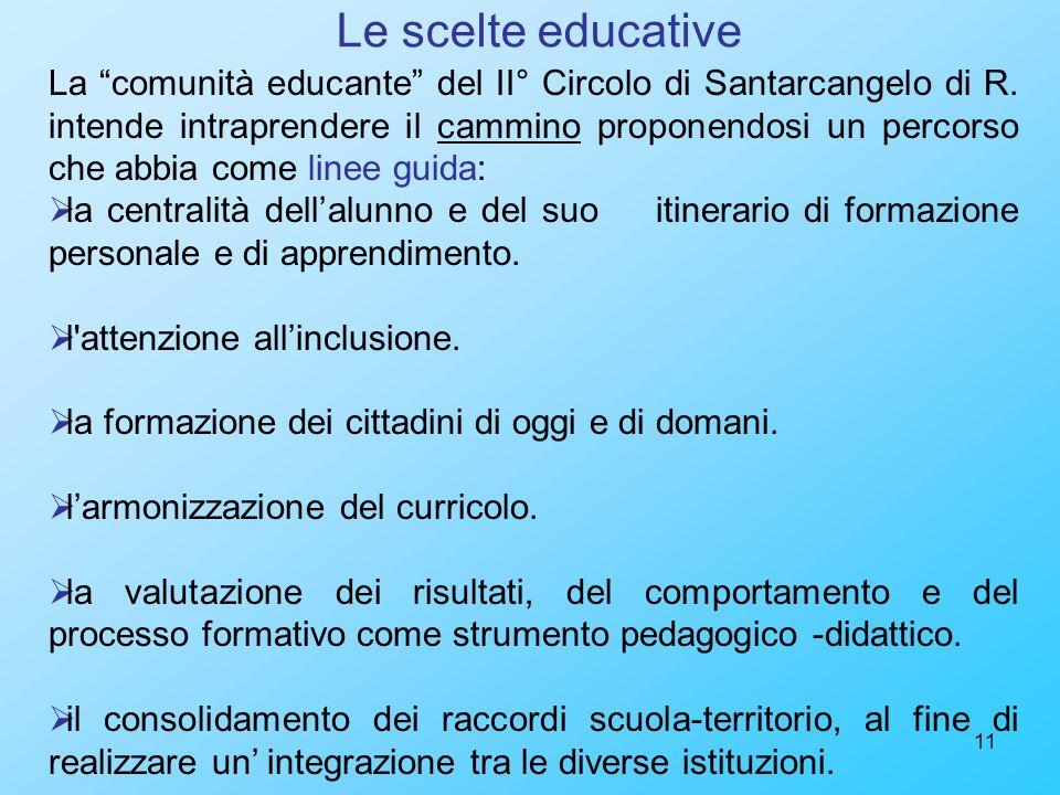 11 Le scelte educative La comunità educante del II° Circolo di Santarcangelo di R. intende intraprendere il cammino proponendosi un percorso che abbia