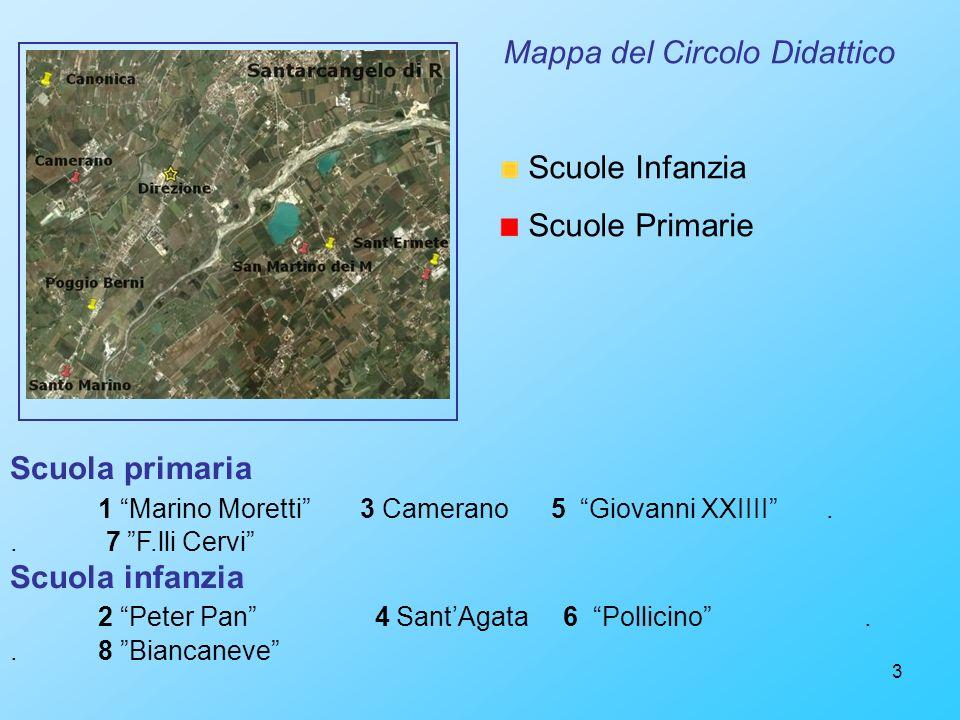 3 Mappa del Circolo Didattico Scuole Infanzia Scuole Primarie Scuola primaria 1 Marino Moretti 3 Camerano 5 Giovanni XXIIII.. 7 F.lli Cervi Scuola inf