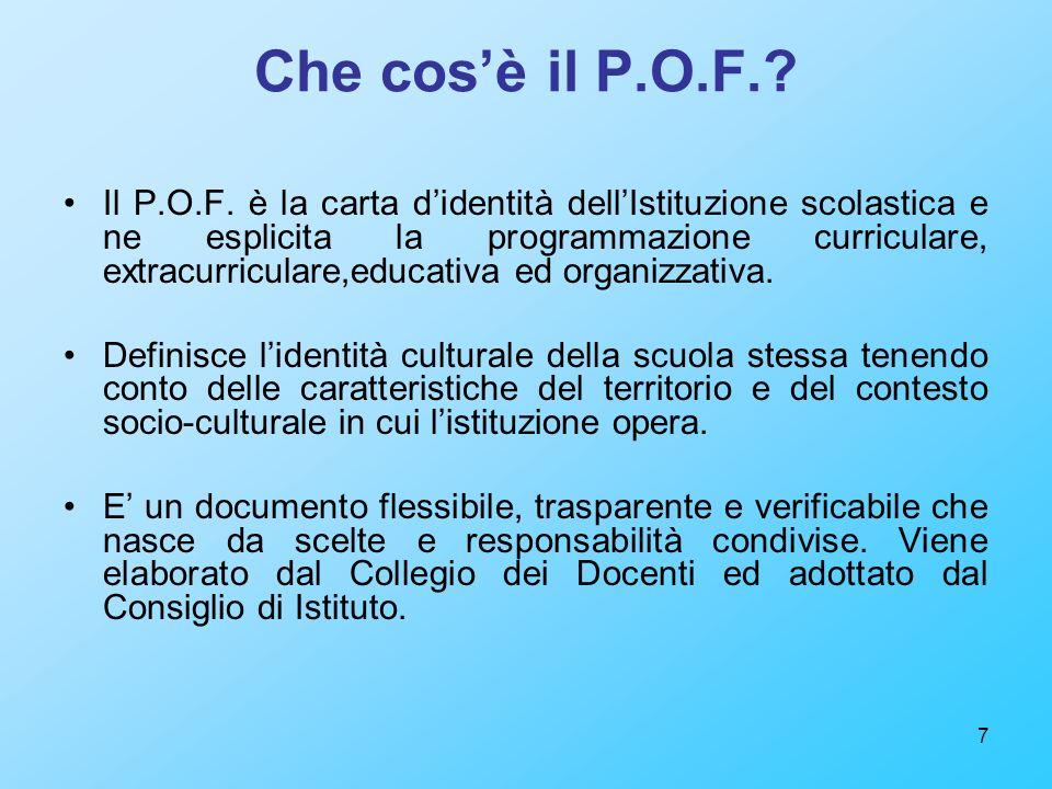7 Che cosè il P.O.F.? Il P.O.F. è la carta didentità dellIstituzione scolastica e ne esplicita la programmazione curriculare, extracurriculare,educati