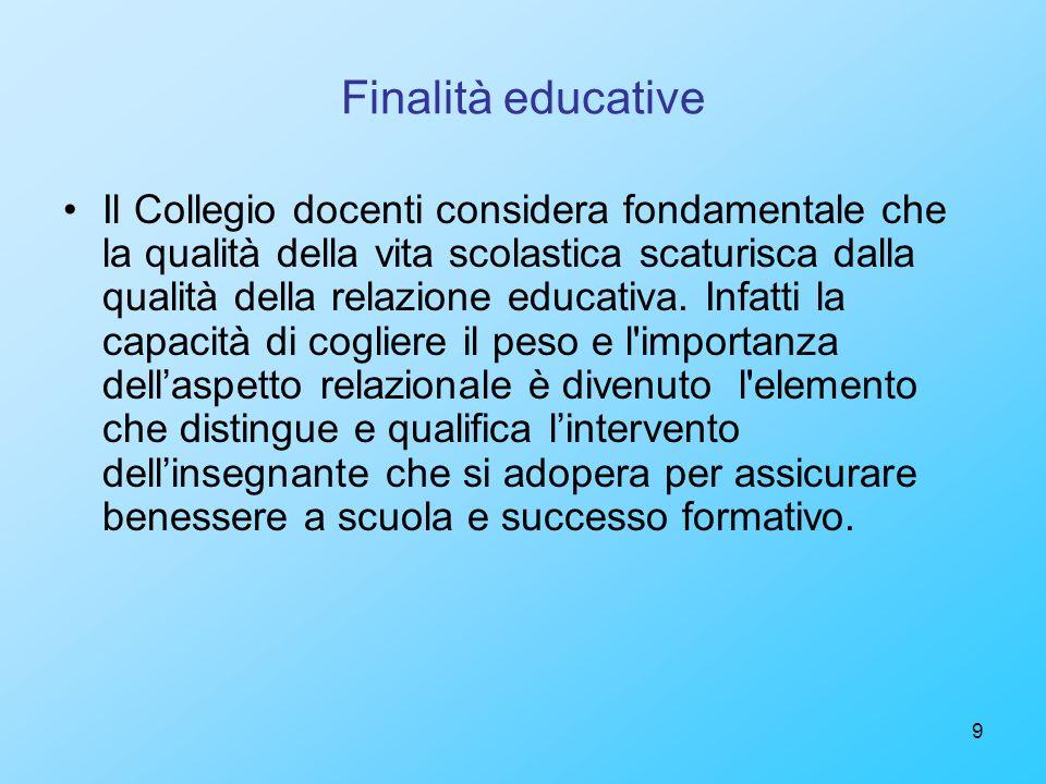 9 Finalità educative Il Collegio docenti considera fondamentale che la qualità della vita scolastica scaturisca dalla qualità della relazione educativ