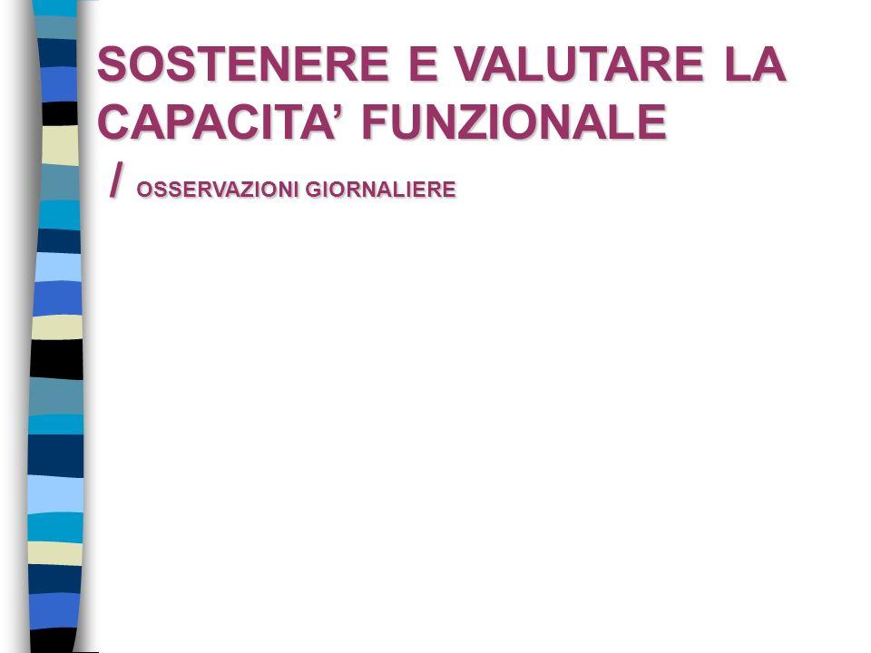 SOSTENERE E VALUTARE LA CAPACITA FUNZIONALE / OSSERVAZIONI GIORNALIERE / OSSERVAZIONI GIORNALIERE