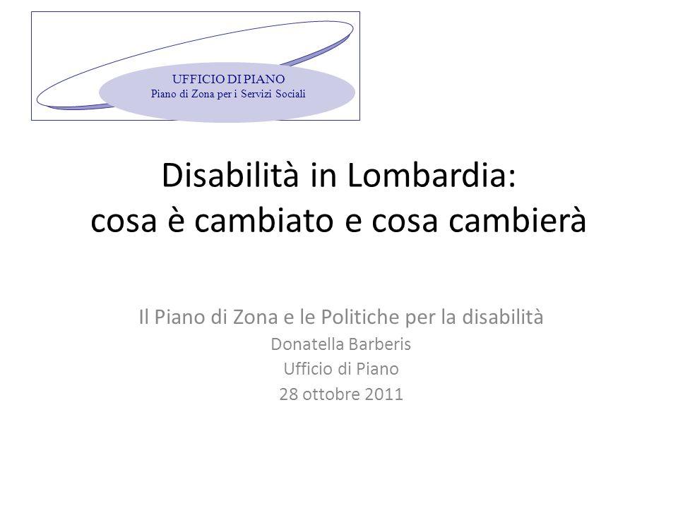 Disabilità in Lombardia: cosa è cambiato e cosa cambierà Il Piano di Zona e le Politiche per la disabilità Donatella Barberis Ufficio di Piano 28 ottobre 2011 UFFICIO DI PIANO Piano di Zona per i Servizi Sociali