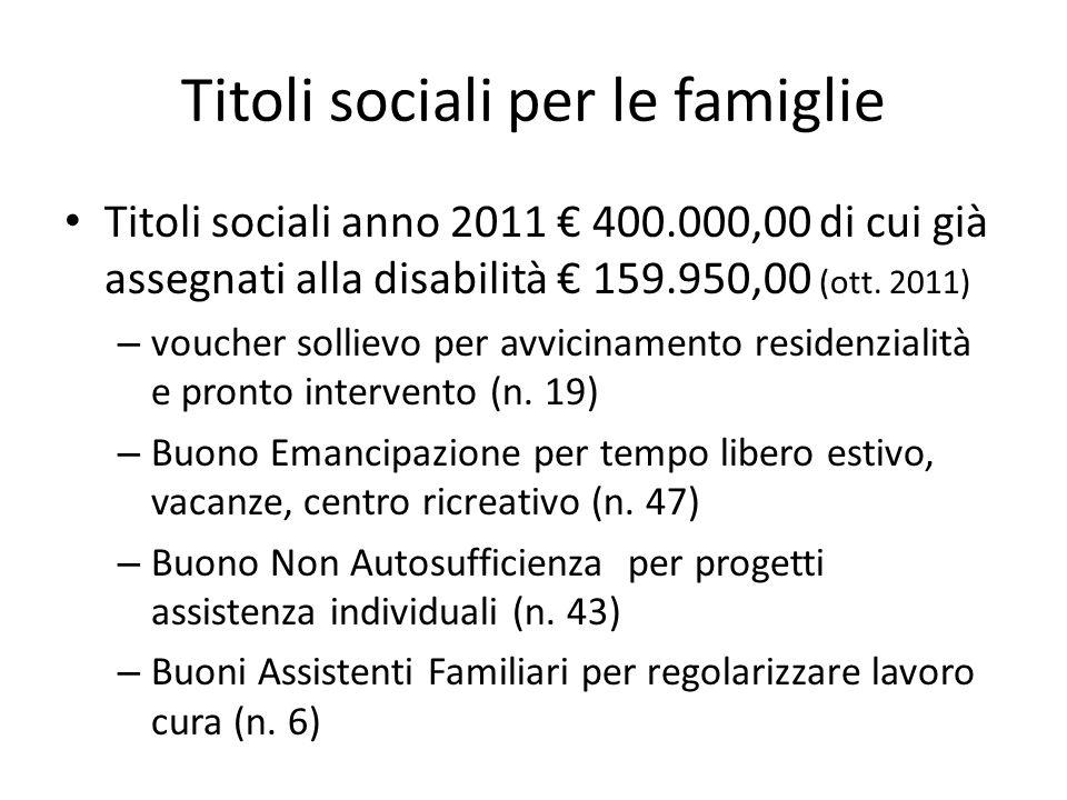 Titoli sociali per le famiglie Titoli sociali anno 2011 400.000,00 di cui già assegnati alla disabilità 159.950,00 (ott.