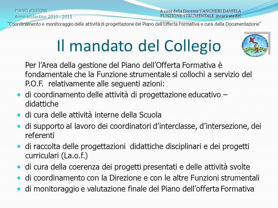 Il mandato del Collegio PIANO dAZIONE Anno scolastico 2010 - 2011 A cura della Docente VANCHERI DANIELA FUNZIONE STRUMENTALE incaricata del: A cura de