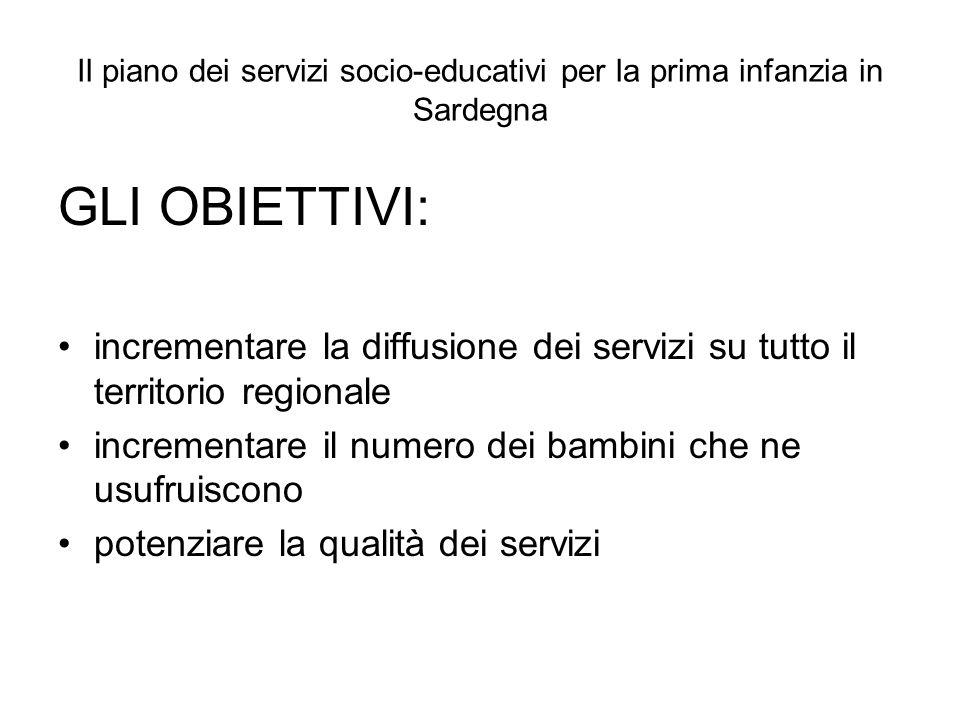 Il piano dei servizi socio-educativi per la prima infanzia in Sardegna GLI OBIETTIVI: incrementare la diffusione dei servizi su tutto il territorio re