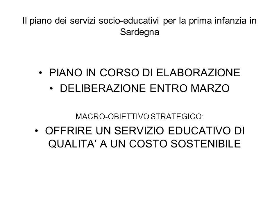 Il piano dei servizi socio-educativi per la prima infanzia in Sardegna PIANO IN CORSO DI ELABORAZIONE DELIBERAZIONE ENTRO MARZO MACRO-OBIETTIVO STRATE
