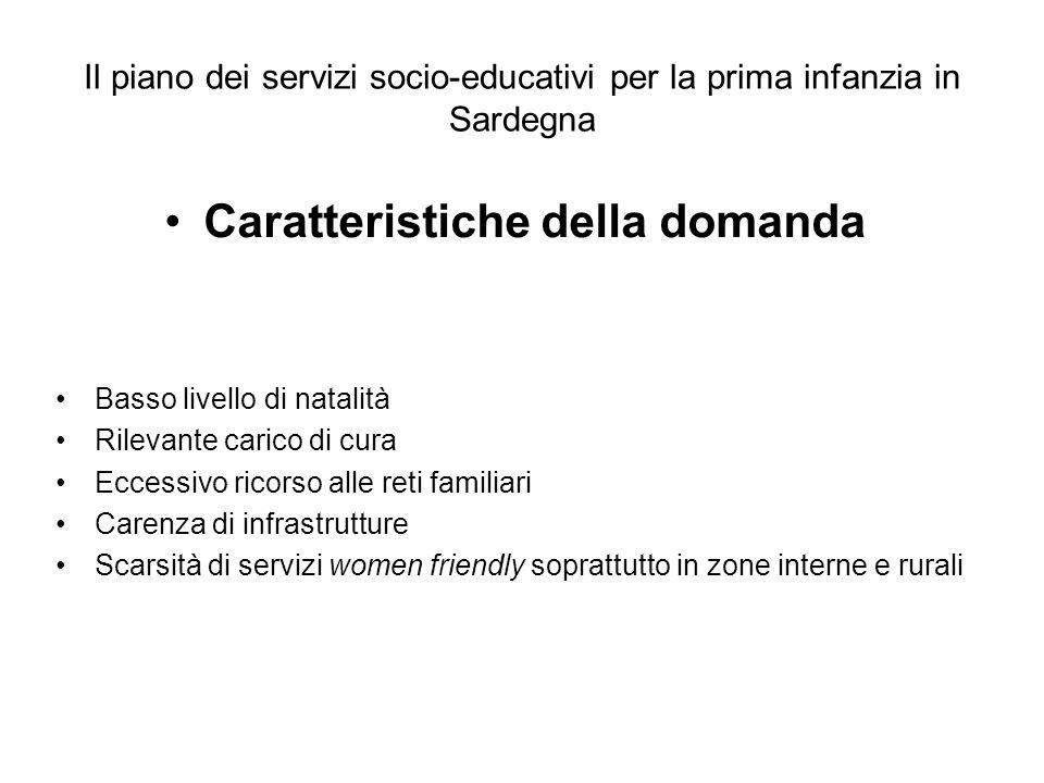 Il piano dei servizi socio-educativi per la prima infanzia in Sardegna Caratteristiche della domanda Basso livello di natalità Rilevante carico di cur
