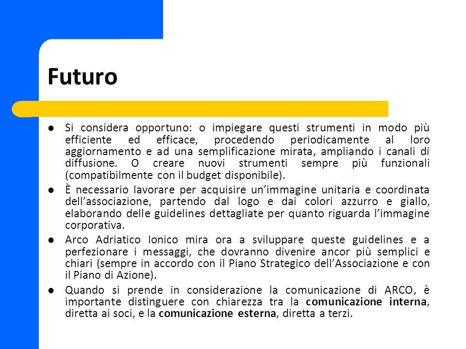 Futuro Si considera opportuno: o impiegare questi strumenti in modo più efficiente ed efficace, procedendo periodicamente al loro aggiornamento e ad una semplificazione mirata, ampliando i canali di diffusione.