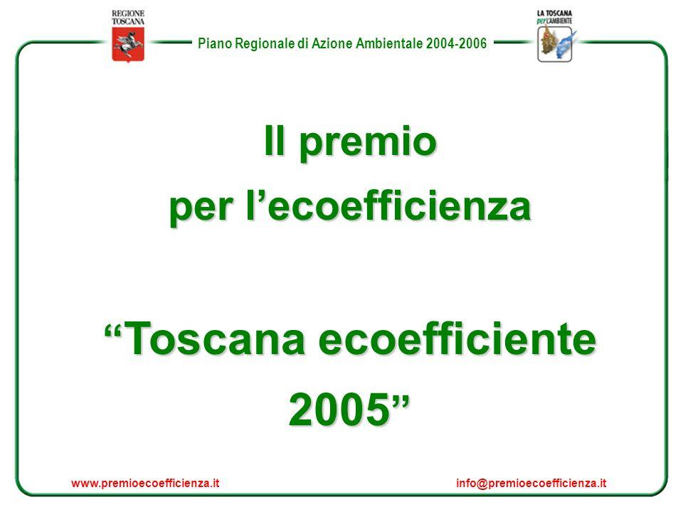 Piano Regionale di Azione Ambientale 2004-2006 Il premio per lecoefficienza Toscana ecoefficiente 2005 Toscana ecoefficiente 2005 www.premioecoefficienza.itinfo@premioecoefficienza.it Piano Regionale di Azione Ambientale 2004-2006