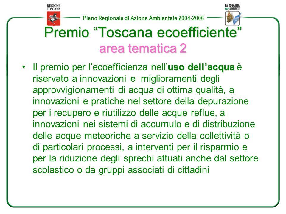 Piano Regionale di Azione Ambientale 2004-2006 Premio Toscana ecoefficiente area tematica 2 uso dellacquaIl premio per lecoefficienza nelluso dellacqua è riservato a innovazioni e miglioramenti degli approvvigionamenti di acqua di ottima qualità, a innovazioni e pratiche nel settore della depurazione per i recupero e riutilizzo delle acque reflue, a innovazioni nei sistemi di accumulo e di distribuzione delle acque meteoriche a servizio della collettività o di particolari processi, a interventi per il risparmio e per la riduzione degli sprechi attuati anche dal settore scolastico o da gruppi associati di cittadini