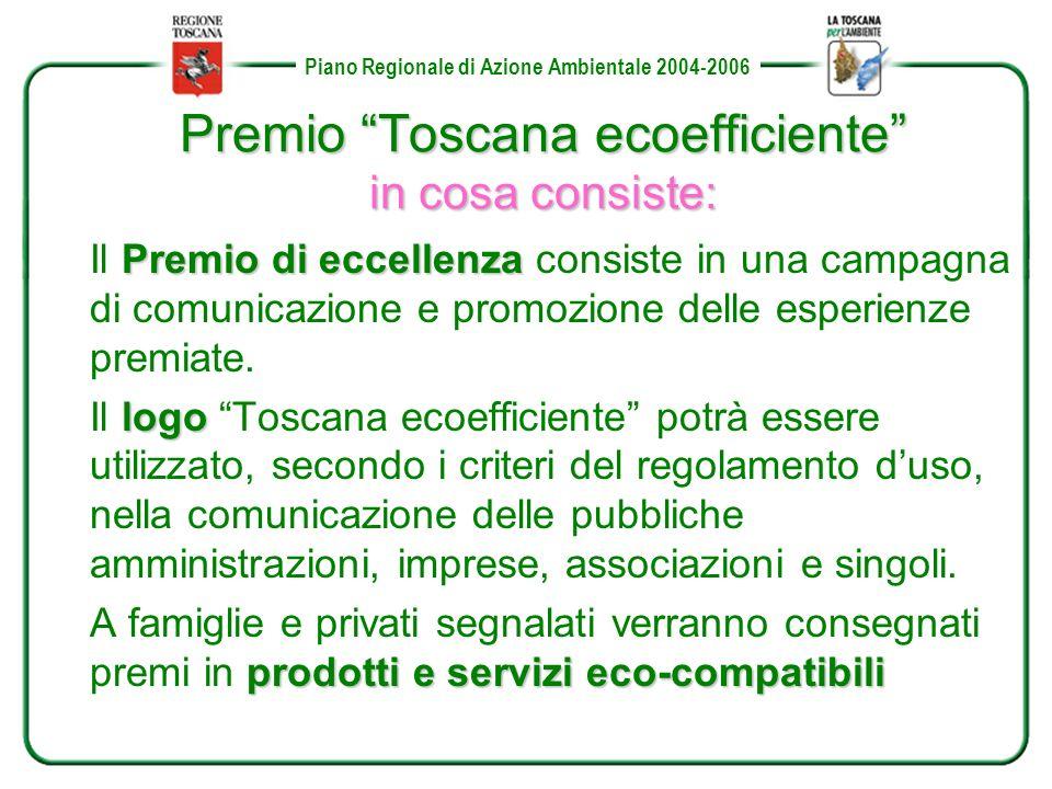 Piano Regionale di Azione Ambientale 2004-2006 Premio Toscana ecoefficiente in cosa consiste: Premio di eccellenza Il Premio di eccellenza consiste in una campagna di comunicazione e promozione delle esperienze premiate.