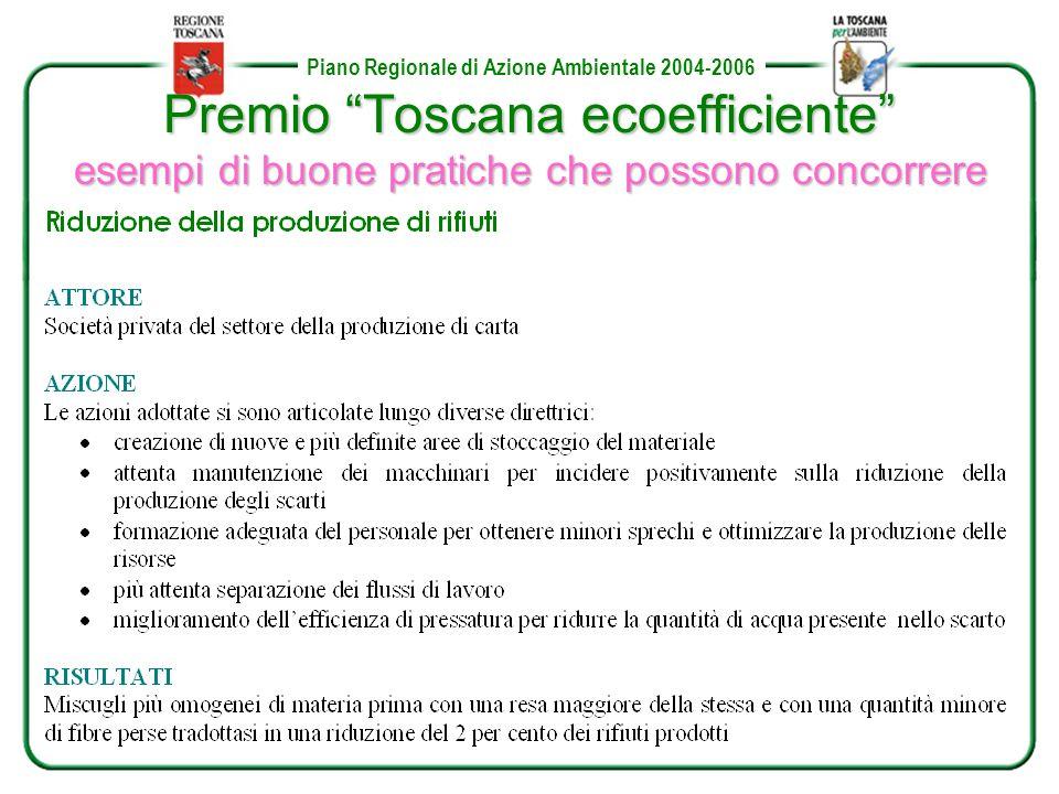 Piano Regionale di Azione Ambientale 2004-2006 Premio Toscana ecoefficiente esempi di buone pratiche che possono concorrere