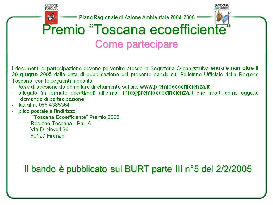 Piano Regionale di Azione Ambientale 2004-2006 Premio Toscana ecoefficiente Come partecipare Il bando è pubblicato sul BURT parte III n°5 del 2/2/2005