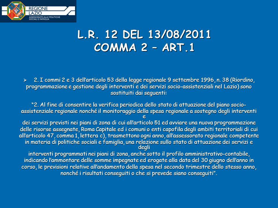 L.R. 12 DEL 13/08/2011 COMMA 2 – ART.1 2.