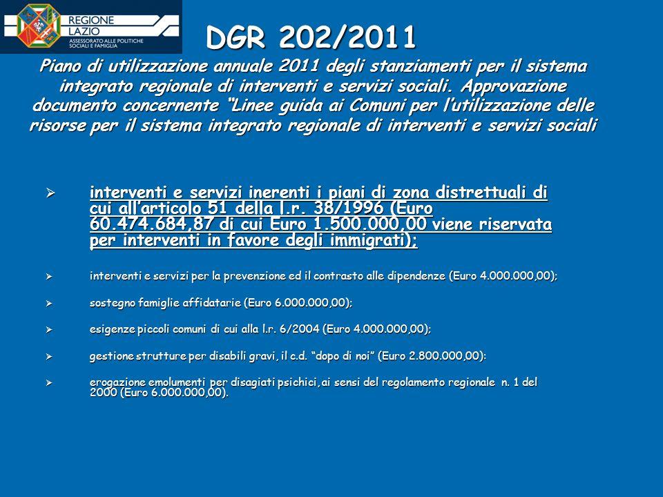 DGR 202/2011 Piano di utilizzazione annuale 2011 degli stanziamenti per il sistema integrato regionale di interventi e servizi sociali.