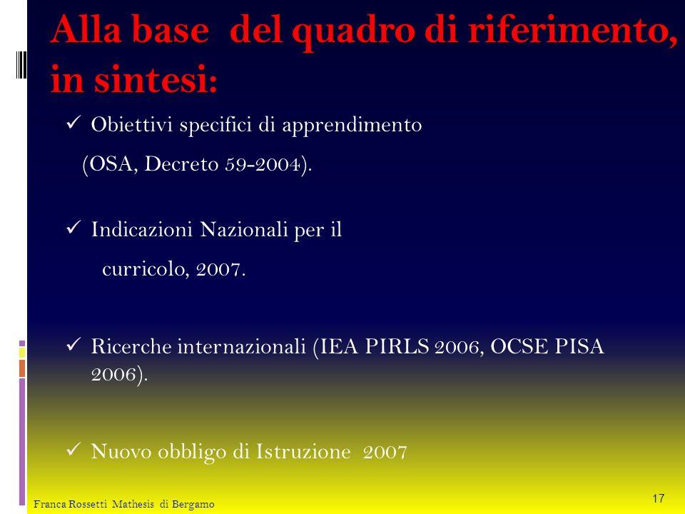 Alla base del quadro di riferimento, in sintesi: Obiettivi specifici di apprendimento (OSA, Decreto 59-2004). Indicazioni Nazionali per il curricolo,