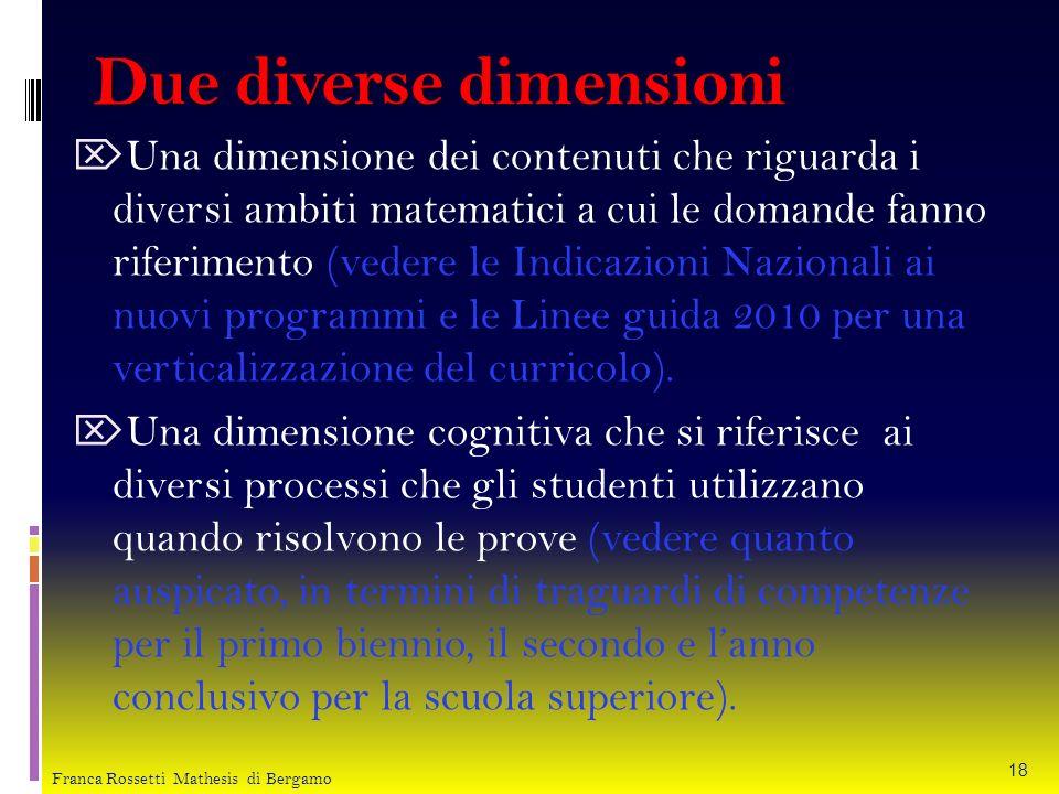Due diverse dimensioni Una dimensione dei contenuti che riguarda i diversi ambiti matematici a cui le domande fanno riferimento (vedere le Indicazioni