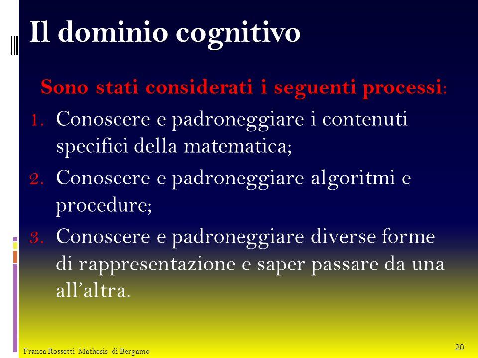 Il dominio cognitivo Sono stati considerati i seguenti processi Sono stati considerati i seguenti processi : 1. Conoscere e padroneggiare i contenuti