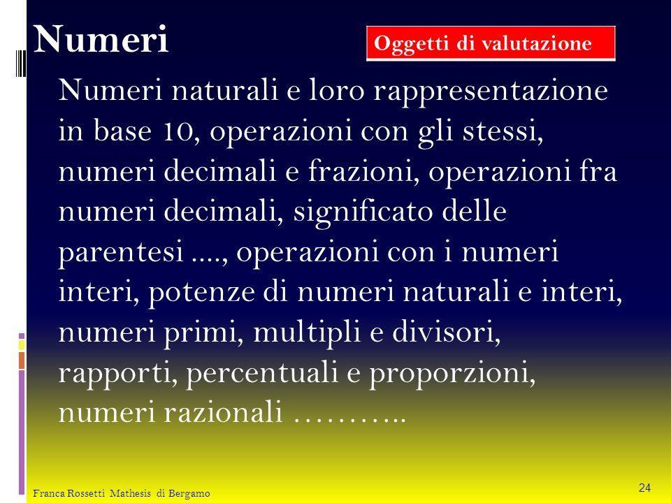 Numeri Numeri naturali e loro rappresentazione in base 10, operazioni con gli stessi, numeri decimali e frazioni, operazioni fra numeri decimali, sign