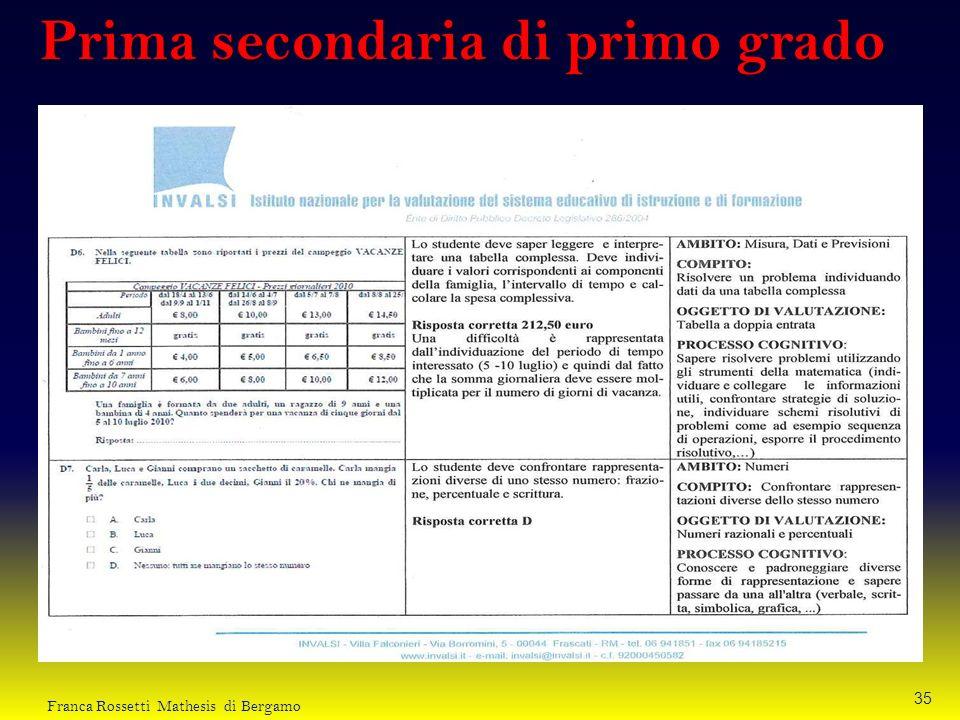 Prima secondaria di primo grado 35 Franca Rossetti Mathesis di Bergamo