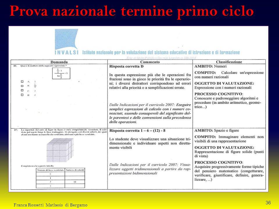 Prova nazionale termine primo ciclo 36 Franca Rossetti Mathesis di Bergamo