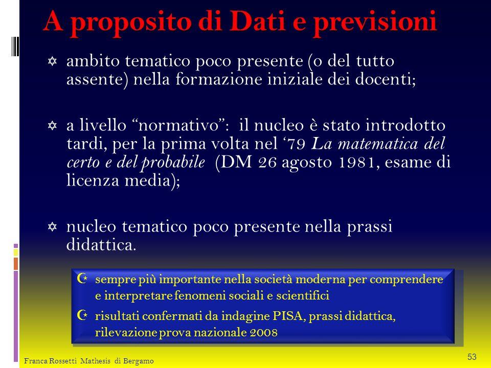 A proposito di Dati e previsioni ambito tematico poco presente (o del tutto assente) nella formazione iniziale dei docenti; a livello normativo: il nu