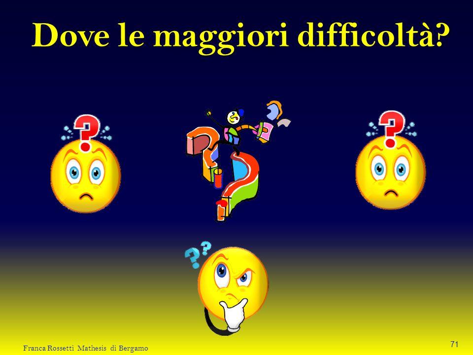 Dove le maggiori difficoltà? 71 Franca Rossetti Mathesis di Bergamo