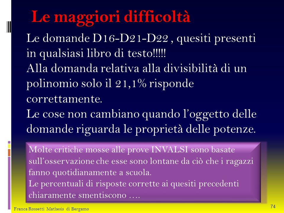 Le maggiori difficoltà Le domande D16-D21-D22, quesiti presenti in qualsiasi libro di testo!!!!! Alla domanda relativa alla divisibilità di un polinom