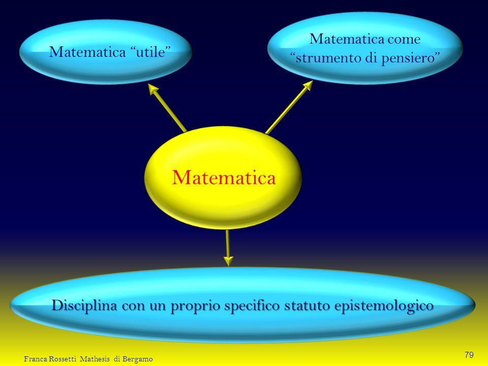 Matematica Matematica utile Matematica come strumento di pensiero Disciplina con un proprio specifico statuto epistemologico 79 Franca Rossetti Mathes