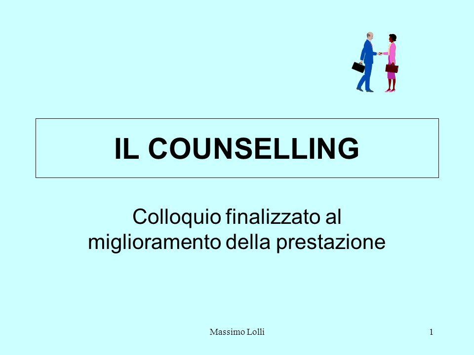 Massimo Lolli1 IL COUNSELLING Colloquio finalizzato al miglioramento della prestazione